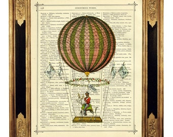 Airship Hot Air Balloon II - Vintage Victorian Book Page Art Print Steampunk