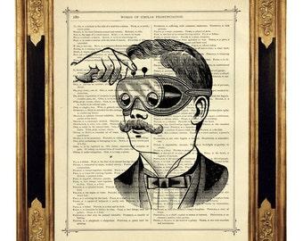 Optical Instrument Gentleman - Vintage Victorian Book Page Art Print Steampunk