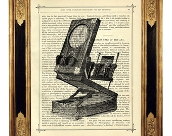 Camera Obscura Projector Optical Instrument - Vintage Victorian Book Page Art Print Steampunk