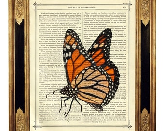 Butterfly Monarch Insect - Vintage Victorian Book Page Art Print Steampunk