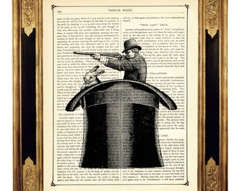 Magic Top Hat Gunman Hunter with Rabbit - Vintage Victorian Book Page Art Print Steampunk