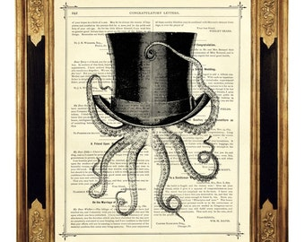 Octopus wearing a Top Hat - Vintage Victorian Book Page Art Print Steampunk