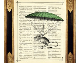 Mouse hanging by a green Parachute - Vintage Victorian Book Page Art Print Steampunk