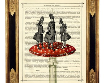 Girls playing on a Mushroom - Vintage Victorian Book Page Art Print Steampunk