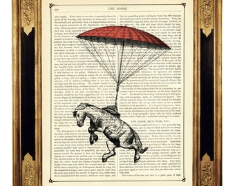 Horse Art Print red Parachute Farm Animals - Vintage Victorian Book Page Art Print Steampunk Dictionary Art Horse Picture Image