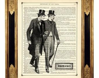 Sherlock Holmes & Dr John Watson Bromance - Vintage Victorian Book Page Art Print Steampunk