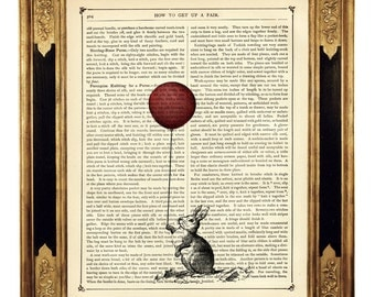Bunny Rabbit holding a red Balloon Easter - Vintage Victorian Book Page Art Print Steampunk