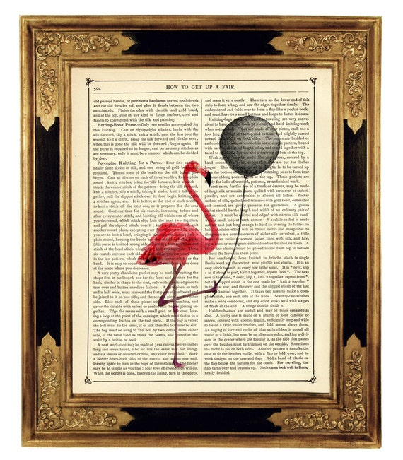 Pink Flamingo holding a black balloon - Vintage Victorian Book Page Art Print Steampunk
