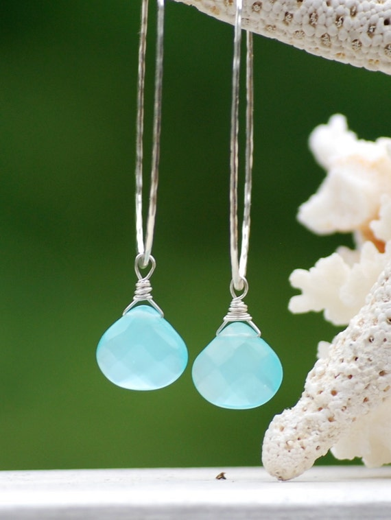 Hammered Sterling Silver Hoops with Chalcedony Teardrops by FlirtyGems