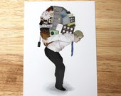 HALF PRICE SALE - Illustration Print Postcard - The Weight of Technology (Phone Apps) - 50% off