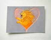 HALF PRICE SALE - Lionheart Lion Illustration Art Postcard Print - 50% off