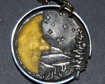 Yellow Opal, Man in the Moon Pendant