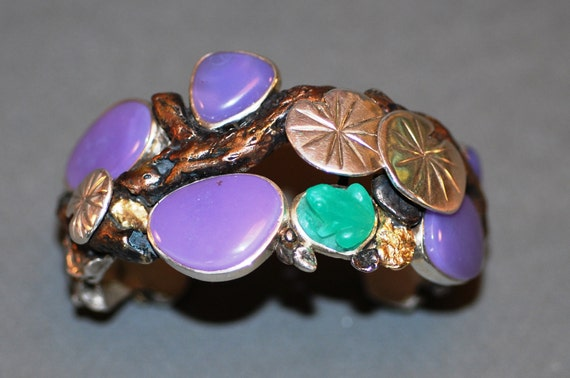 Frog and Lily Pad Bracelet in Sterling Silver