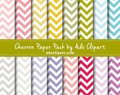 Chevron Digital Paper Pack - 16 Chevron Scrapbook Papers chevron pattern blue, orange, yellow, gray, purple, pink chevron