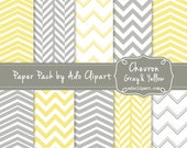 Chevron Yellow and Gray Digital Paper Pack - Chevron Scrapbook Papers chevron pattern gray yellow chevron - E128