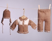 SALE before 74 Usd now only 45 Usd ORGANIC hand knitted baby girl set of cardigan, pants and hat (Choko)