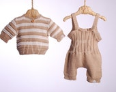 Organic hand knitted knee-length overall and short-sleeved sweater, ready to ship size 3-6 months
