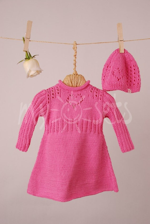 ORGANIC hand knitted baby girl long-sleeved dress and matching beanie hat