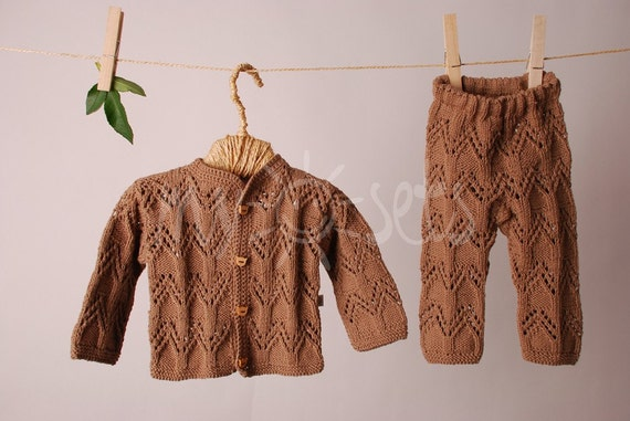 ORGANIC hand knitted baby set of cardigan and pants