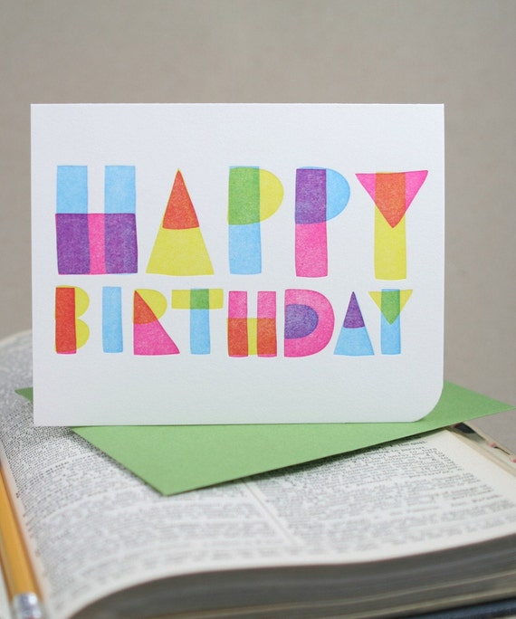 Geometric Happy Birthday - Letterpress Printed Card