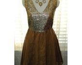 Vintage Gold Metallic Brocade Cocktail Dress S/M