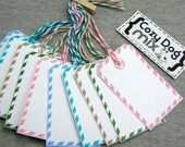 AiRMAiL TAGS Multi color Mix - Gift Packaging /Hand Stamped /Favor Tags  /set of 10 /Christmas packaging // Gift wrap, Pre Strung Hang Tags