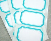 Dennison Style Label HANDSTAMPED Turquoise LABELS ... Adhesive-ready to Stick