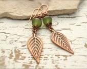 AUTUMN LEAF EARRINGS, Green Goddess by Cheydrea