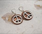 RUSTIC SILVER PEACE Copper Disc Earrings