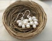 RUSTIC WEDDING, Pearl Cluster Earrings by Cheydrea