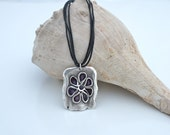 PURPLE FLOWER, Silver Pendant Necklace by Cheydrea