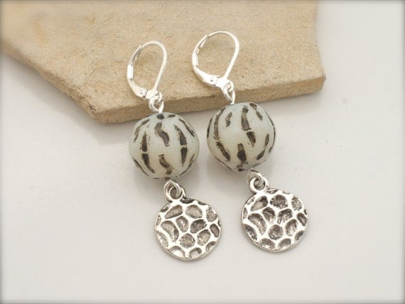 ZEBRA EARRINGS- Chunky Ivory and Dimpled Silver by Cheydrea