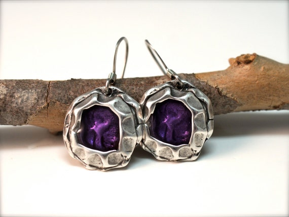 PURPLE EARRINGS, Amethyst Enamel in Rustic Silver by Cheydrea