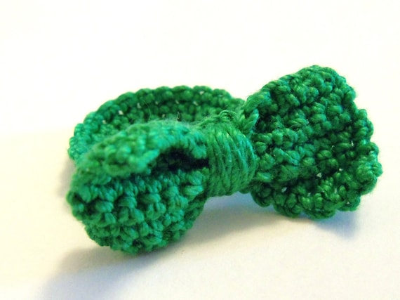 Crocheted Bow Tie Ring - Kelly Green
