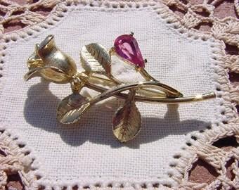 Pink Zircon Golden Rosebud Vintage Avon Brooch