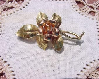 Petite Golden Copper Rose Vintage Brooch