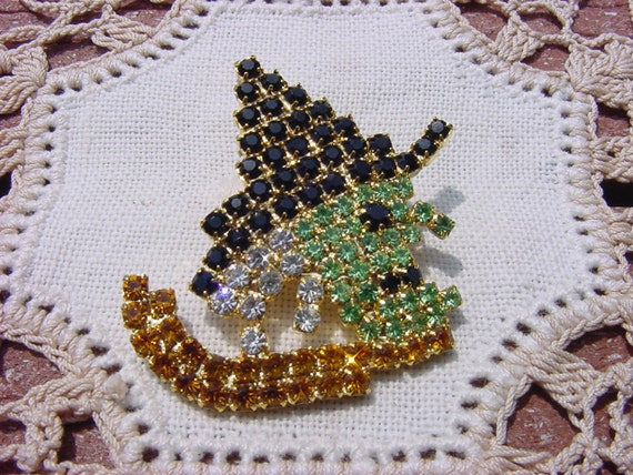 Wicked Witch Halloween Vintage NOS Rhinestone Brooch
