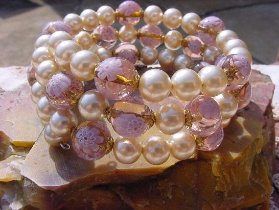 Vintage Lilac Millefiori Miriam Haskell Pearls Bangle Wrap