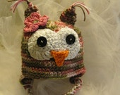 Crocheted Owly Hat-Pink Camo