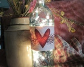 Heart and Berry Accent Light-Wine Bottle