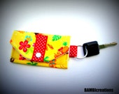 "Mini Wallets (Card & Cash Holder/ Key Fob) ""Yellow Aloha Hula""- Hawaiian Print- Tropical- Key Chain- Novelty Gift- FREE U.S Shipping"