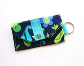Mini Wallet Key Fob (Cash/Card Holder)- Business Card Holder- Key Chain -Mother's Day Gift- Flowers and Polka Dots- FREE U.S Shipping