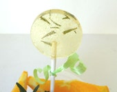 6 Sunrise Rosemary Citrus Lollipops-Gourmet Artisan Candy-Natural-Vegan-Made In Hawaii-Hard Candy Suckers-Herbal-Wedding Favors-Party Favors