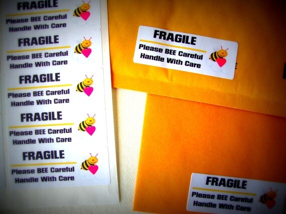 """Sticker Labels-30 Fragile Please """"Bee"""" Careful Handle With Care- Shipping Supplies"""