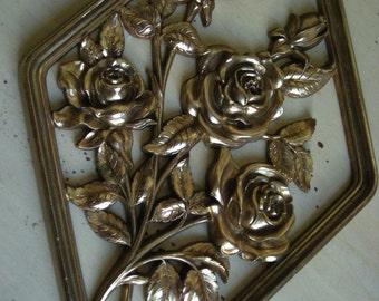 Vintage Hollywood Regency Syroco Golden Roses Wall Hanging - Pair