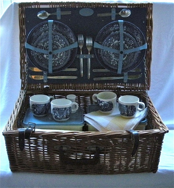 Vintage Brooks Brothers Wicker Picnic Basket - Special Wedding Gift