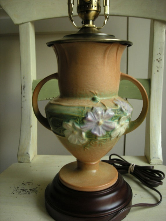 1940s Roseville Cosmos Upcycled Vase - Lamp