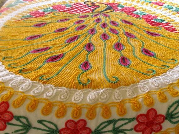 Vintage Chenille Bedspread - Peacock Design