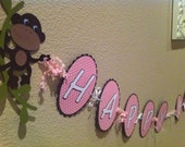 Happy Birthday Monkey Banner- Can be changed for boy or personalized with name-Fully Assembled