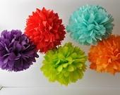 Tissue Paper Pom Poms - Set of 5 - Pick Your Colors